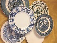 Set Of 6 Vintage China Mismatched Blue & White Dessert Cake Bread Plates  #140