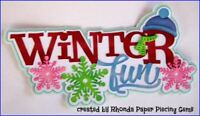WINTER FUN TITLE paper piecing for Premade Scrapbook Pages album card  by Rhonda