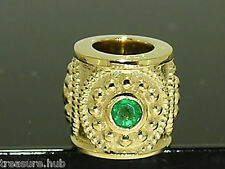 Bd30 Genuine 9ct 9K Solid Yellow Gold Natural Emerald Bead Charm Victorian style