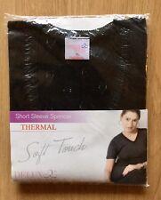 Ladies Thermal Short Sleeve Spencer Underwear Nightwear Ski Wear XL Black