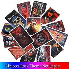 21 Pcs Rock & Roll Metal Stickers Punk Skull Skeleton Laptop Skateboard Luggage