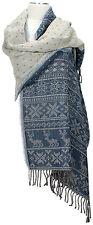 Pashmina Schal, 100% Wolle wool scarf stole foulard Blau Blue Hirsch