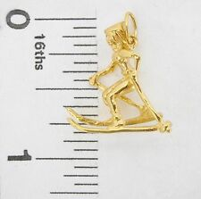 Charm 14k yellow gold female SKIER 3 dimensional