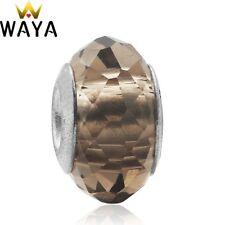 European Silver Heart Charms Crystal Bead Xmas Pendant Fit 925 Sterling Bracelet