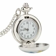 Women Kids Girls Butterfly Analog Pocket Watch Quartz Necklace Pendant Chain