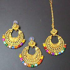 Women Bridal Designer Jewelley Head Maang Tikka with Earrings Gold Jewelry Gift