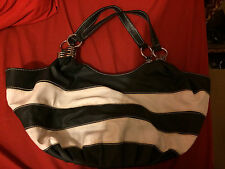 Navy & White Striped Faux Leather Hobo Satchel / Purse / Shoulder Bag