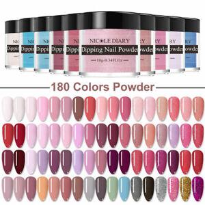 180 Colors NICOLE DIARY Nail Dipping Powder Acrylic Glitter French Nail Art Dip