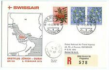 Swissair First Flight Zurich to Dubai 2 Feb 1976 Registered