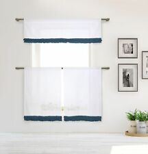 "Cotton Shabby Chic Gray 3 Pc Curtain Set Blue Pleated Ruffles Valance, 36"" Tiers"