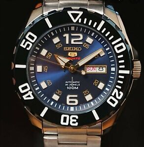SEIKO 5 BNWT BLUE BABY MONSTER SRPB37K1 Automatic watch 4R36 SPORT DIVER GUARANT