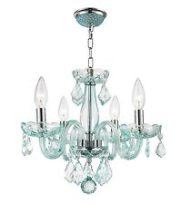 "4-Light Chrome Finish D16"" H12"" Thor Coral Blue mini Crystal Chandelier"