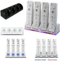 Charger Charging Dock Station + 4x Battery Pack For Nintendo Wii / Wii U Remote