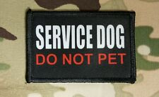 Service Dog Do Not Pet 2x3 Hook Backed Morale Patch Black White Red Therapy K9