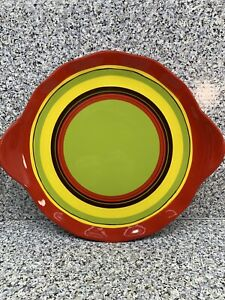 Hand Painted Earthenware Tastefully Simple Serving Plate Platter Red Stripes