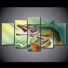 Abstract Fishing and Hook 5 Pieces Canvas Wall Artwork Picture Poster Home Decor