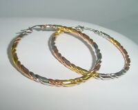 large stainless steel round earrings in silver, gold & rose gold colors 1414