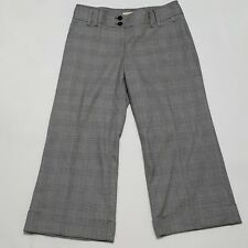 Michael Kors Sz 8 Pants Womens Capri Trousers Millbrook Fit CUFF Plaid Wide Leg