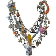 KIRKS FOLLY BUBBLE BUBBLE TOIL AND TROUBLE HALLOWEEN POTION NECKLACE SILVER
