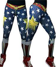WONDER WOMAN Stars & Stripes Leggings Yoga Pants DC Comics Super Hero Spandex