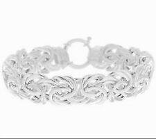 JEWELERY BOLD BYZANTINE BRACELET POLISHED WHITE STERLING SILVER 925