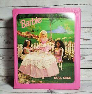Vintage 1996 Pink BARBIE Doll Case Fashion Closet Tea Party w/Christie Storage