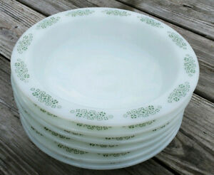 6 Anchor Hocking Springwood Green Pasta Soup Wide Rim Bowls Placesetters Collect