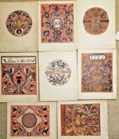 "8 Color Prints Norwegian Designs ""old rosemaling In Rogaland"" Portfolio Folder 4"