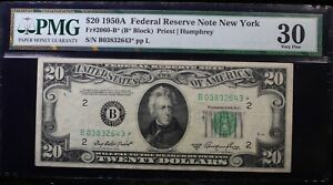 PMG $20 1950A* Star Federal Reserve Note New York VF30