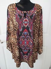 NWT - MELISSA PAIGE women's paisley/animal print tunic top - sz 1X - MSRP $79.00