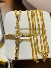 "18K 750 Saudi Gold 20"" Long Women's Cross Necklace 2mm USA Seller"
