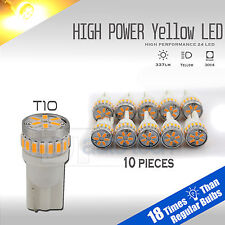10X High Power Amber/Yellow T10 921 Interior/License Plate SMD LED Light Bulbs