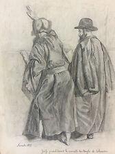 Dessin crayon orientaliste Juifs prières temple de Salomon Israël février 1879