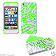 APPLE iPHONE 5 HARD ZEBRA FUSION HYBRID CASE SKIN COVER ACCESSORY WHITE/GREEN
