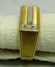 10 K SOLID YELLOW GOLD/WHITE GOLD DIAMOND #10 RING