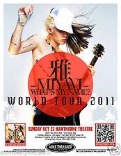 "MIYAVI 2011 ""WHAT'S MY NAME WORLD TOUR"" CONCERT POSTER - Japan Samurai Guitarist"