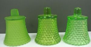3 Different Shapes of Green Glass,Hobnail,Votive Candle Holders, Vintage Pieces