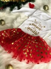 BABY'S CHRISTMAS OUTFIT SET, White LS Romper Red Tutu and HB Gold Season Sparkle