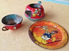Vintage Ohio Art Tin Litho Tea Set -  Walt Disney Productions Donald Duck!