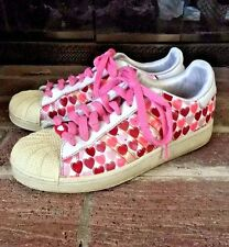 ADIDAS Pink Red WOMEN Leather Heart Valentines Cupid Fashion Tennis Shoes Sz 7.5