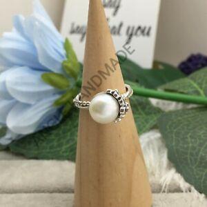 Original 100% S925 Sterling Silver, Garden Odyssey Ring, Pearl & Black CZ 925 🕊