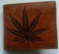 SOFT LEATHER Bifold Wallet Cannabis Logo Marijuana Weed Pot Leaf fpp uk