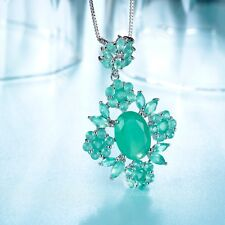 18K WHITE GOLD PLATED JADE CZ PENDANT NECKLACE GREEN FASHION ATTITUDE