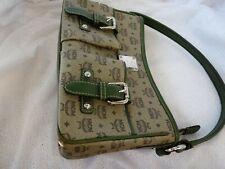 MCM Vintage DAMENTASCHE BAG LEDER CANVAS grün