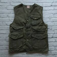Vintage Filson Wax Hunting Fishing Vest Size L Green Made in USA Shooting Upland