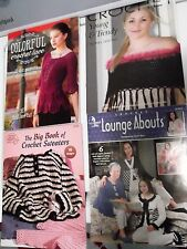 Lot of 8 Euc Full Sized Crochet Pattern Books for Ladies Sweaters & other Items