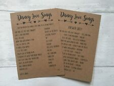 x10 Disney Love Songs Hen Party, Bridal Shower game activity cards +answer sheet