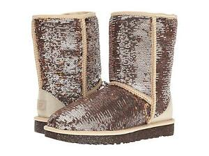 UGG AUSTRALIA SPARKLES BOOTS WOMENS CLASSIC SHORT SEQUIN BLING CHAMPAGNE SIZE 9