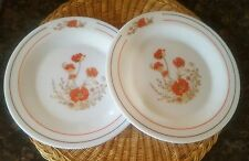 2 Arcopal Red Poppy Side Plates France 1970's