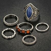 6pcs/Set Boho Midi Ring Beach Vintage Tibetan Silver Rings Women Jewelry Gift